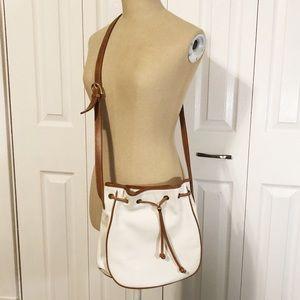Vintage Talbots White Leather Bucket Crossbody Bag